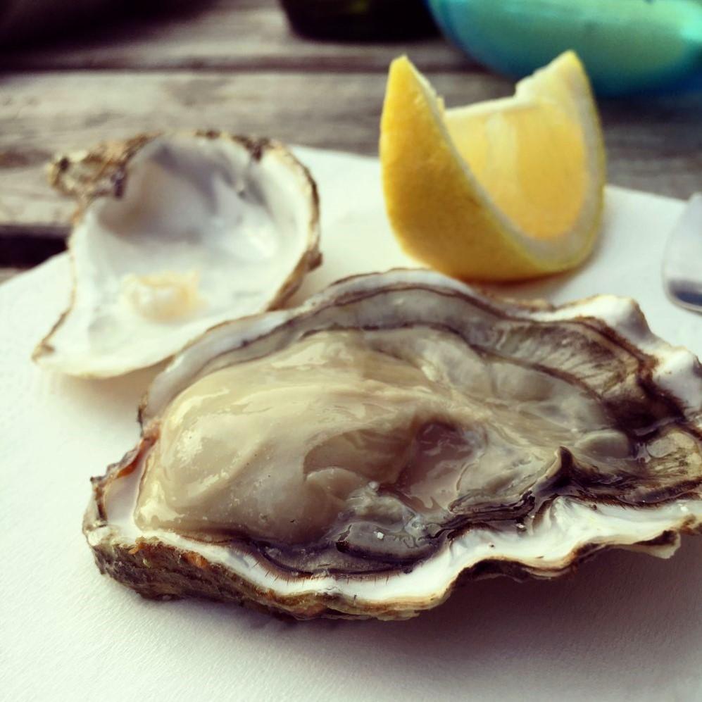 Frischer geht es fast nicht: meine erste bretonische Auster probiere ich bei einer kleinen Verkostung bei Béatrice. Lecker!
